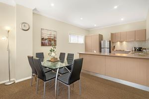 The Dining Area of a 2 Bedroom Townhouse Apartment at Birmingham Gardens Townhouses.