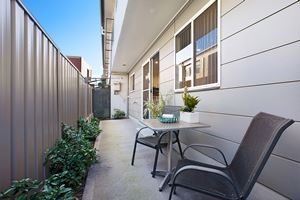 The Parivate Courtyard of a 5 Bedroom Townhouse Apartment at Birmingham Gardens Townhouses.